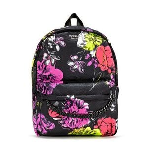 Victoria's Secret Floral Backpack With Chain